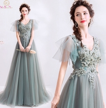 2019 New Gray Green Evening Dresses Sexy V Neck Sheer Sleeve Backless Lace Up Formal Party Prom Gowns Elegant vestidos de gala