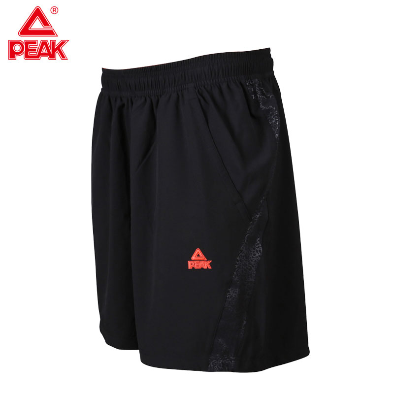 PEAK Mens Basic Running Shorts Black Comfortable Woven Short for Gym Jogging Training Ou ...
