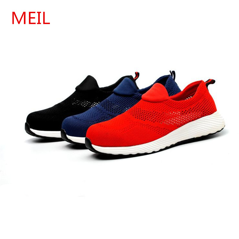 Summer Breathable Unisex Work Safety Shoes Men Loafers Sneakers Women Steel Toe Boots