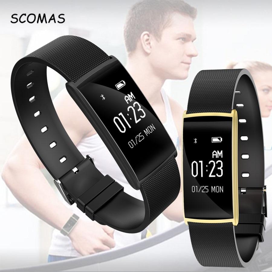 SCOMAS más nuevo monitor de ritmo cardíaco pulsera inteligente 0,96 pulgadas pantalla táctil BT4.0 pulsera inteligente reloj fitness tracker wristband
