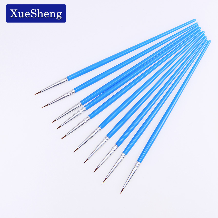 Fine Hand Painted Thin Hook Line Pen Blue Art Supplies Drawing Art Pen Paint Brush Nylon Brush Painting Pen 10PCS/Set