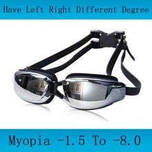 Adulto profissional miopia óculos de natação homem arena diopter nadar óculos anti nevoeiro natação natacion água