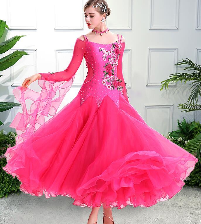 Image 4 - vestiti da ballo standard donna waltz dress   vals dance dress kadın standard ballroom dress green red customize-in Ballroom from Novelty & Special Use