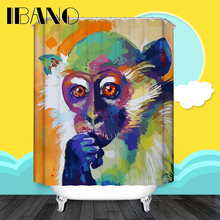 Cartoon Shower Curtains Pattern Custom Curtain Waterproof Bathroom Fabric 180x180cm Monkey For
