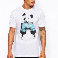 FJUN Panda T-shirts Animal Print Mannelijke Kleding O-hals/Trui Korte Mouw Causale Chinese Stijl Top Rated