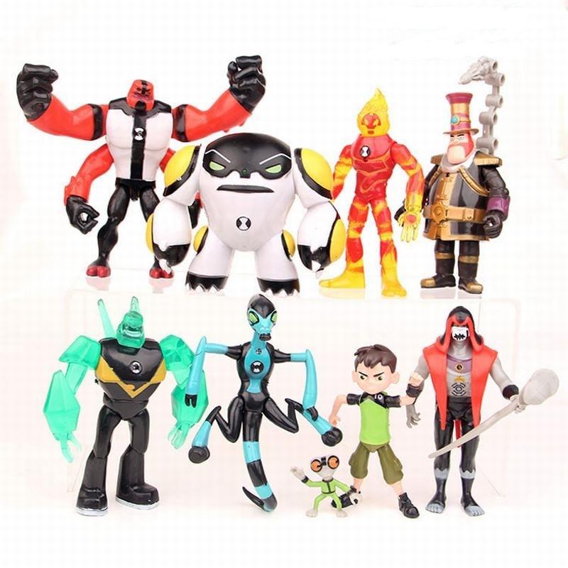 9 pçs/set 10 Ben Tennyson Quatro Braços Cinza Importa Kineceleran Diamondhead Heatblast PVC Figuras de Ação Para Crianças Presentes Brinquedos