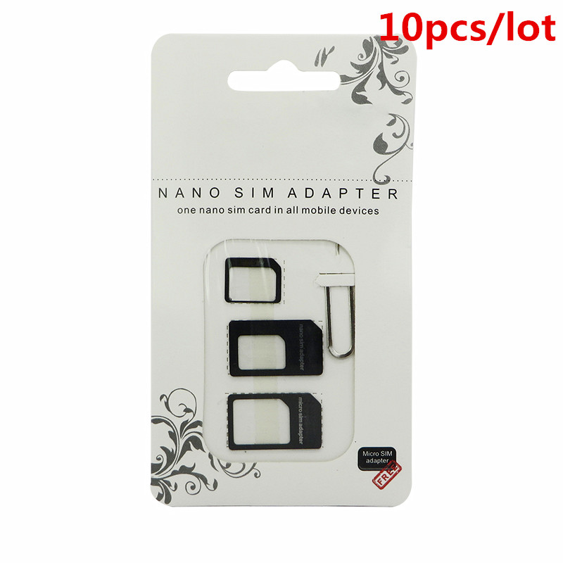 10pcs Nano SIM Card Adapter 4 in 1 micro sim adapter with Eject Pin Key Retail Package for iPhone 5 5S 6 7 4 for Samsung S8 plus