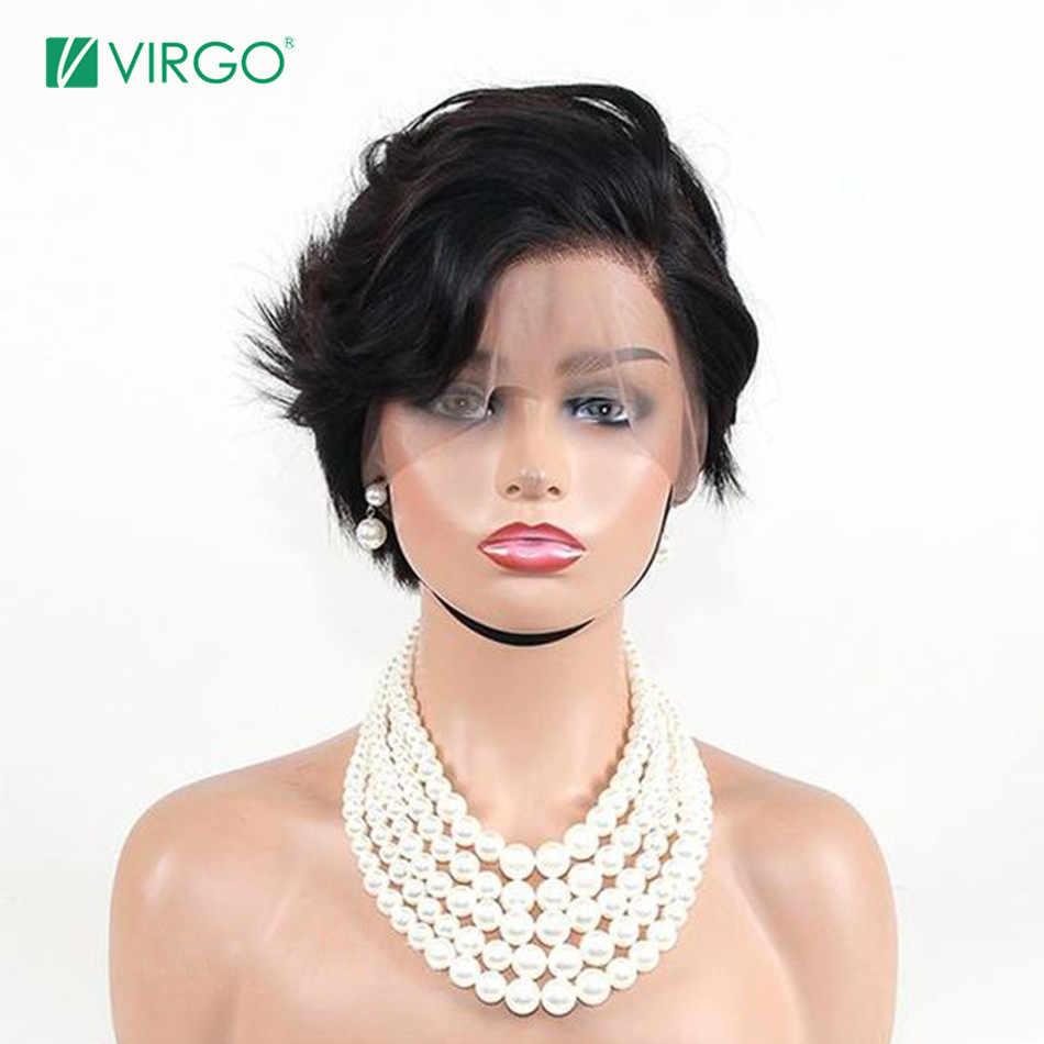 Virgo бразильский короткий Боб Pixie Cut парик фронта шнурка человеческих волос парики для черных женщин предварительно сорванные волосы Remy Бесплатная доставка