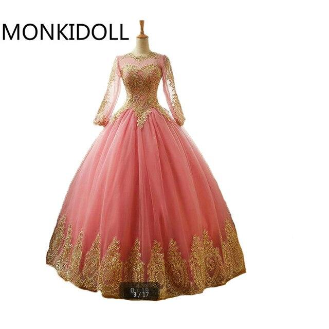 Vestidos De Novia vestido de bola rosa de encaje de oro apliques ...