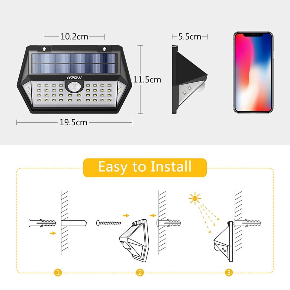 Mpow CD168 40 LED Solar Garden Light Outdoor IP65 Waterproof Brightness Adjustable Solar Lamps (7)