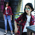 Girls Clothes 2017 Spring Cotton Plaid Shirt Girls Blouse School Girls Shirt Outerwear Children Clothing 4-12 Years Kids Clothes