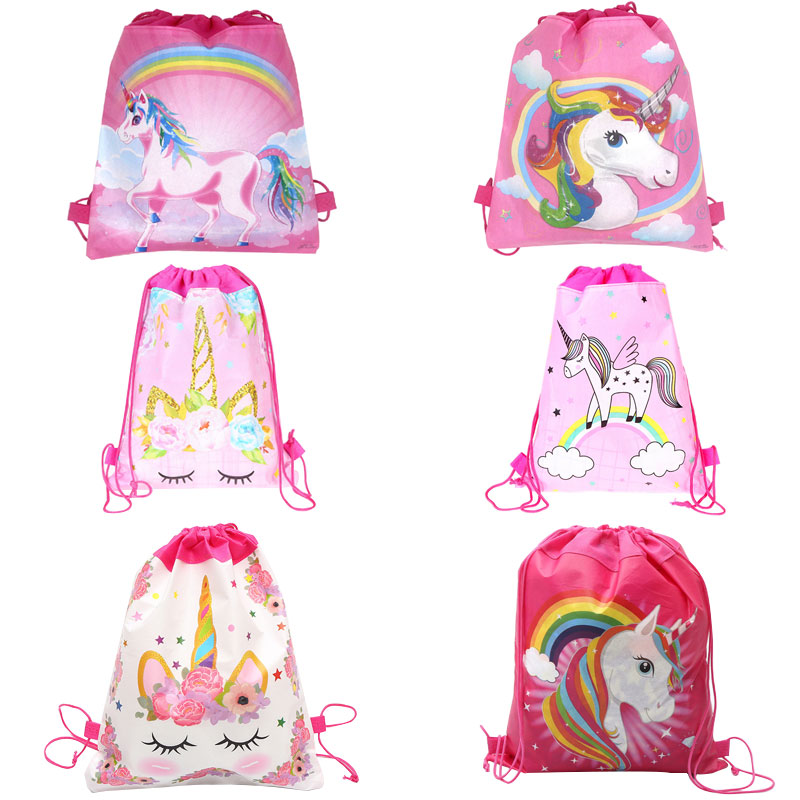 6/12/24/30PCS Unicorn Drawstring Bag For Girls Travel Storage Package Cartoon School Backpacks Children Birthday Party Favors