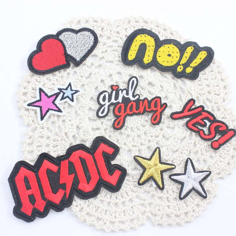 Eight kinds optional pentacle and word patch patches clothing embroidery iron on sewing accessories badge