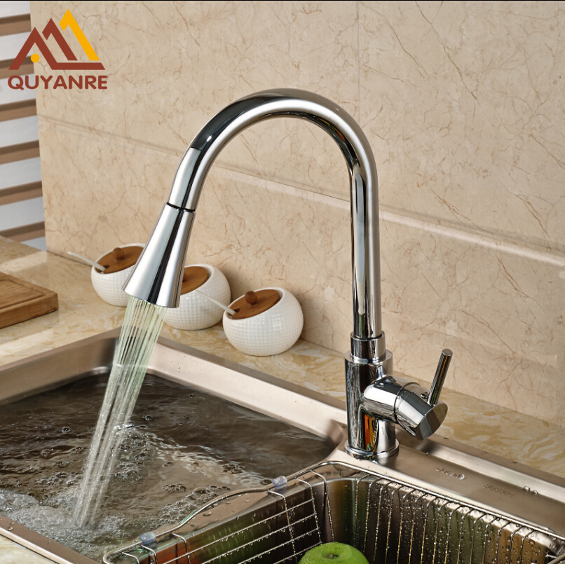Chrome LED Color Changing Kitchen Faucet Single Handle Pull Out Kitchen Sink Taps e pak brand new concept pull out chrome single handle kitchen and bathroom sink faucet lj92359