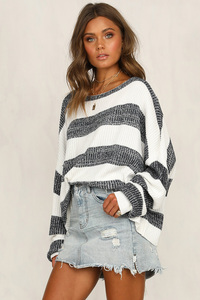Image 4 - Fitshinling Big Size Loose Women Sweaters And Pullovers Knitwear White Grey Striped Womens Jumper Long Sleeve Pull Femme Sale