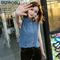 New Fashion Sleeveless Turn Down Denim T Shirt For Women Summer Shirt Femeninas Solid Vest Tops