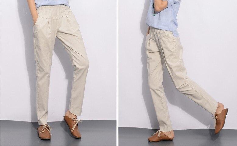YuooMuoo новые модные женские брюки с эластичной резинкой на талии, узкие льняные брюки-карандаш, летние брюки для женщин, повседневная женская одежда