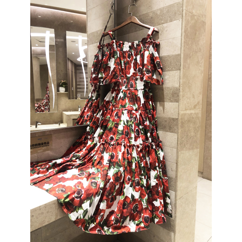 Super beauty holiday style 2019 quality summer women s color floral print one word shoulder large