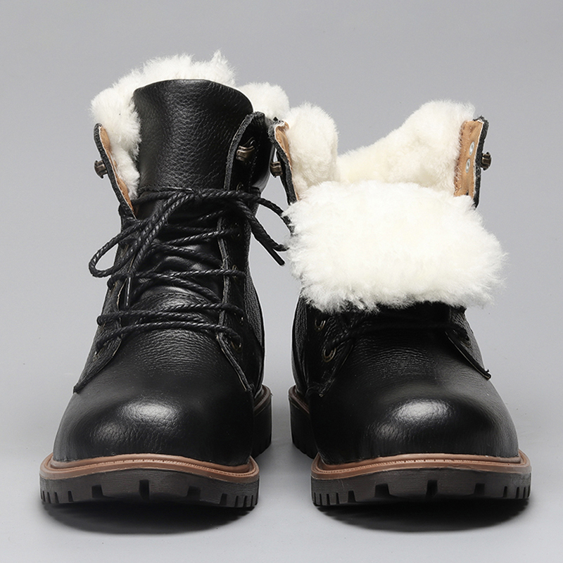 Natural Wool Men Winter Boots Size 35~48 Warmest Genuine Leather Russian Style Men Snow Boots #YM1570