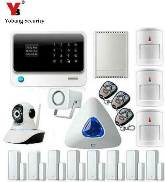 YobangSecurity Android IOS APP WIFI GSM House Alarm System Quad Band with IP Camera Relay Door Window Sensor PIR Motion Detector yobangsecurity 2016 wifi gsm gprs home security alarm system with ip camera app control wired siren pir door alarm sensor