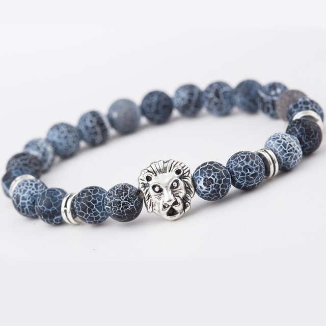 Fashion Beaded Bracelets for Men & Women Rhinestone Golden Alloy Lion Head  Jewelry Bangles Hot Accessories