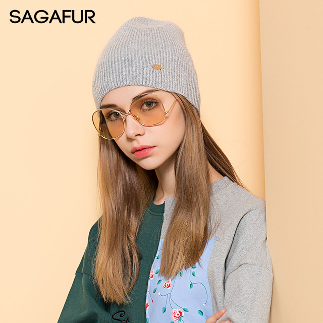 Warm Soft Wool Hat Women s Winter Cap Solid Knitted Hat For Girls 2018  Fashion Brand Bonnet Hat Female Casual Beanies With Label de15b70771f2