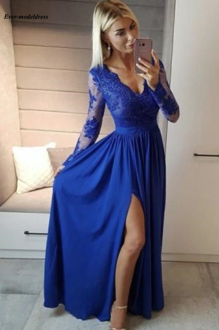 2019 High Split   Evening     Dresses   Long Sleeves Chiffon Floor Length Lace Appliques Button Back Prom Party Gowns Robe de soiree