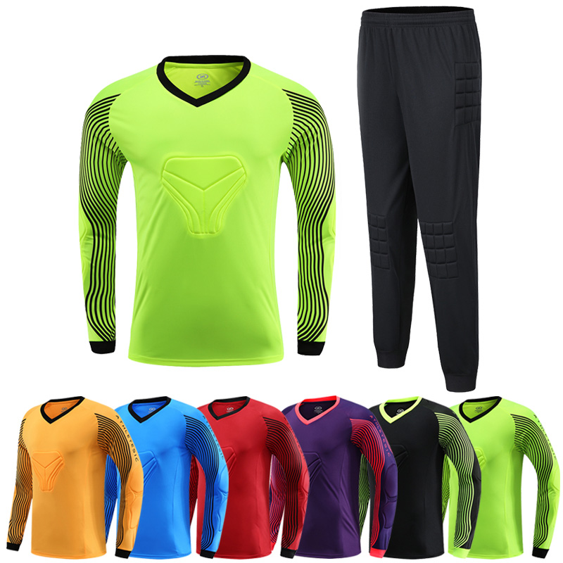 Child Adult Soccer Goalkeeper Jersey Set Sponge Protector Can Customized Goalkeeper Uniform Suit Shorts Pants