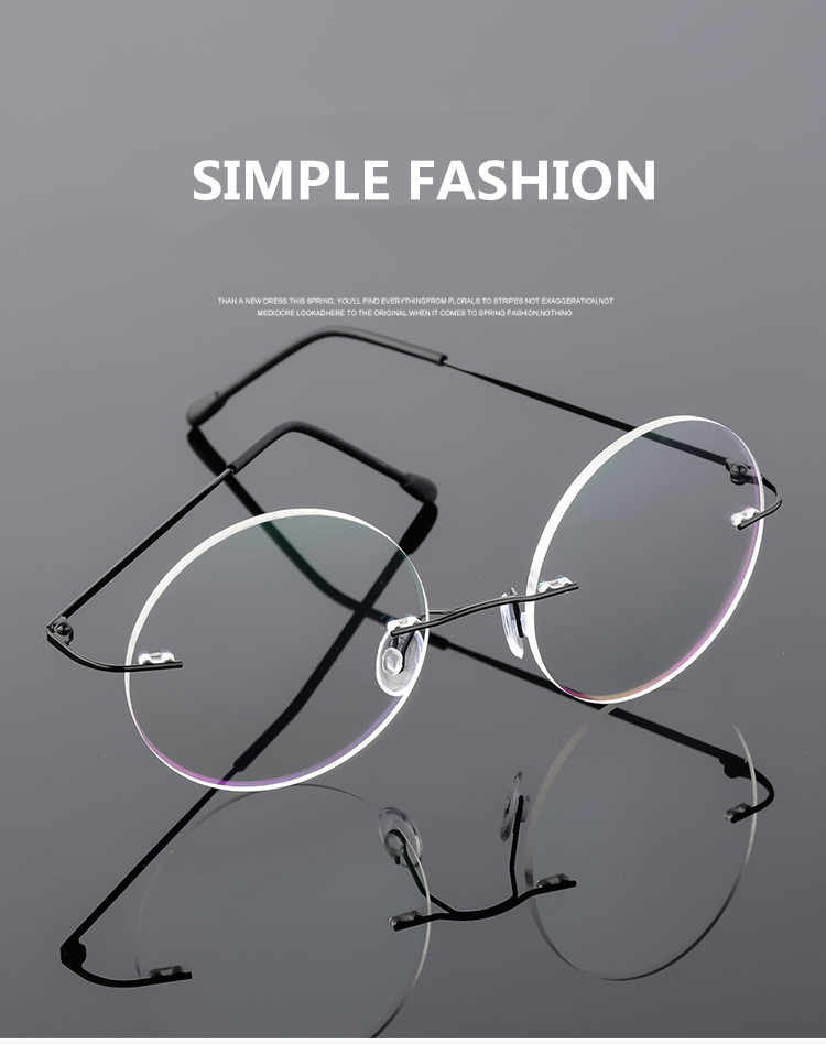 f6e3a4071ab9 ... Steve Jobs Star Style Foldable Ultra-light Memory Titanium Rimless  Round Myopia Eyeglasses Optical Glasses ...