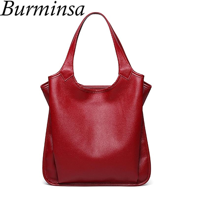 Burminsa 100% Genuine Leather Handbags Women Soft Shoulder Bags Female High Quality Tote Bags For Mom 2018 Red Black Blue Pink shoulder bag