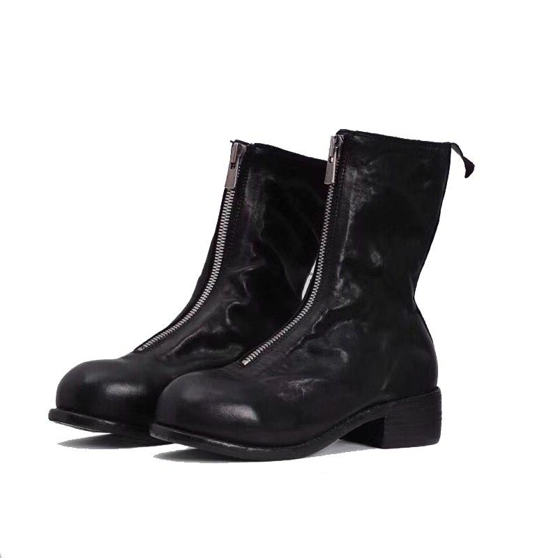 19ss/мужские ботинки, высокие роскошные кроссовки из натуральной кожи на молнии, весенние мужские черные ботинки до середины икры, PL1 PL2, повсе