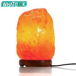1-2KG lampa solna Natural Himalayan Crystal lampka nocna możliwość przyciemniania przełącznik drewniana podstawa 15W żarówka do domu sypialnia salon biuro