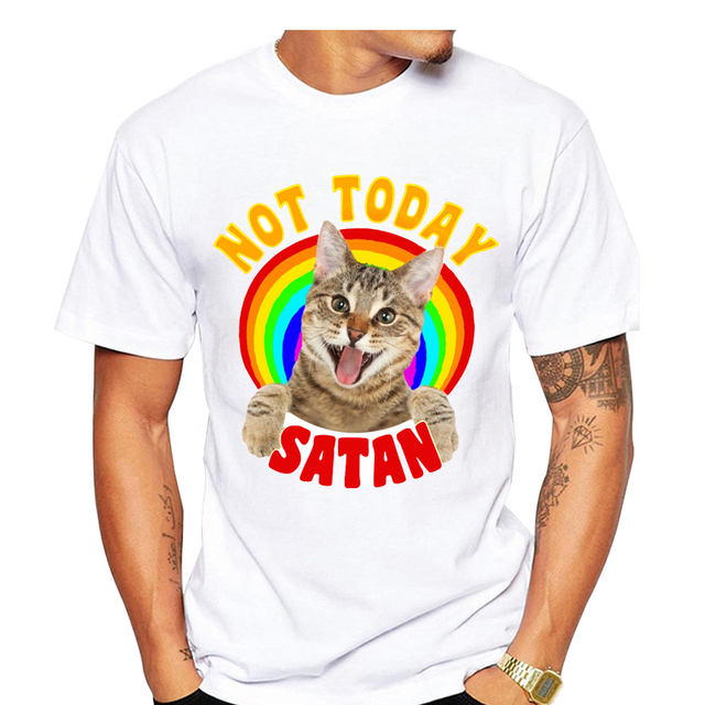 adfc4af6872e8 Cute Rainbow 3D Cat Print T Shirt Men Summer Not Today Satan Letters Animal  T-shirt Short Sleeve Harajuku tshirt White Tee Tops