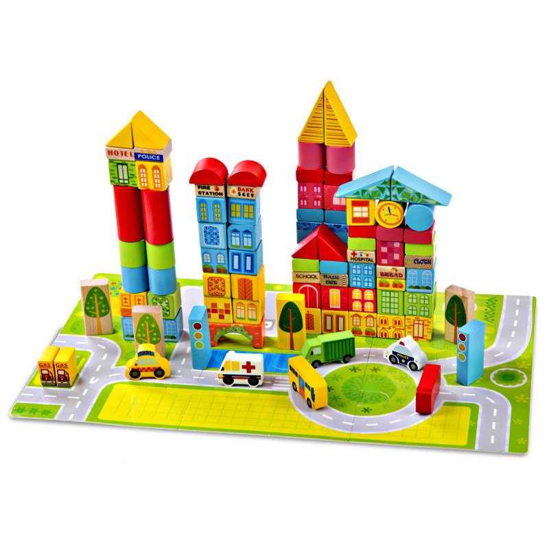 Onshine 100pcs/barrel The Urban traffic Colorful Building Blocks Beech Wood intellectual toys for Children kids Gifts the barrel burglary page 11