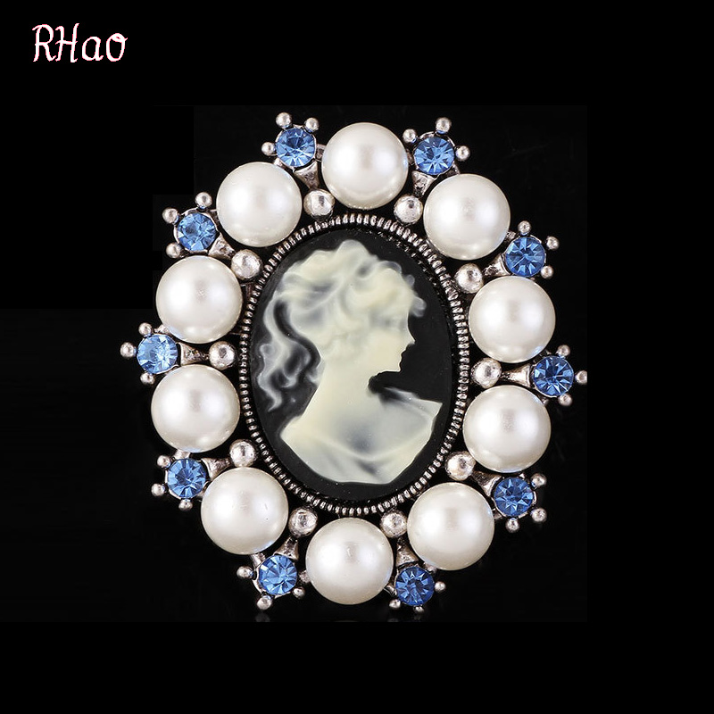 Fashion Women Casual pearl Brooches pins,Rhinestone Beauty Women head Vintage Brooches for women and men jewelry,badge,wholesale