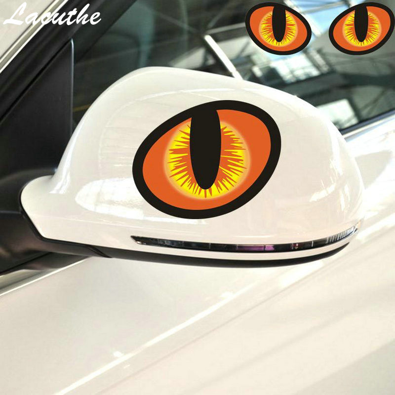 12*10cm Cute Simulation Cat Eyes Car <font><b>Stickers</b></font> 3D Vinyl Decal for Rearview Mirror Car Head Engine Cover <font><b>Windows</b></font> Decoration image