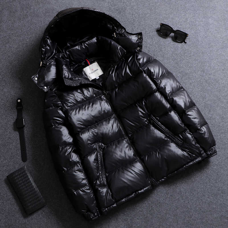 49e4ac0f768 Men's Down Coat Boy's Winter Down Jacket Shiny Ultralight Hooded solid  Autumn Casual jacket Mal Thermal