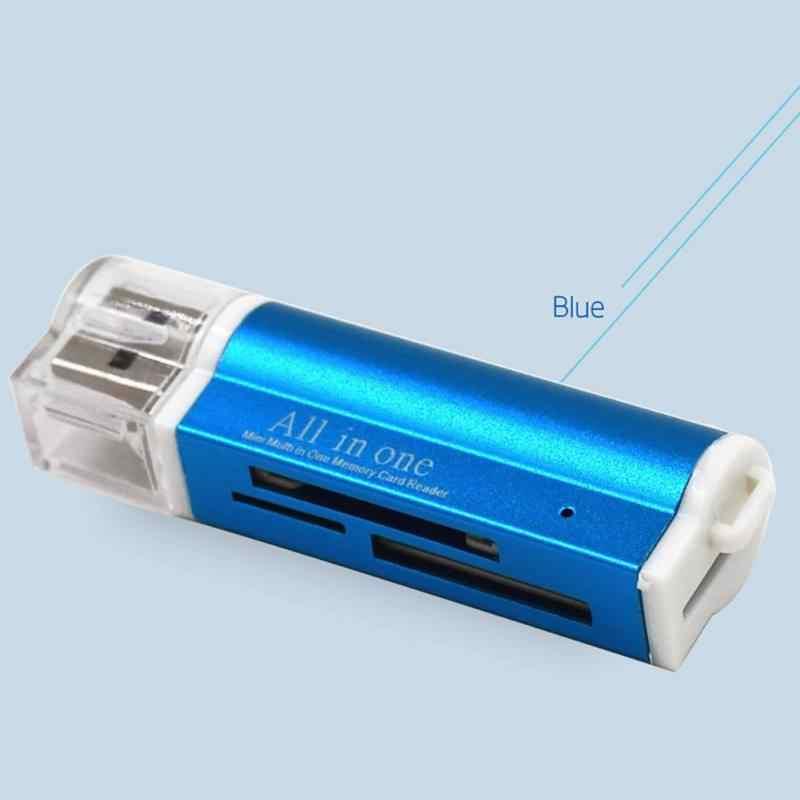 الكل في واحد SD بطاقة البسيطة الألومنيوم سبائك قارئ بطاقات ، متعددة schede ذاكرة يو إس بي قارئ بطاقات لكل مايكرو SDHC SD TF MS M2 USB بطاقة ريد