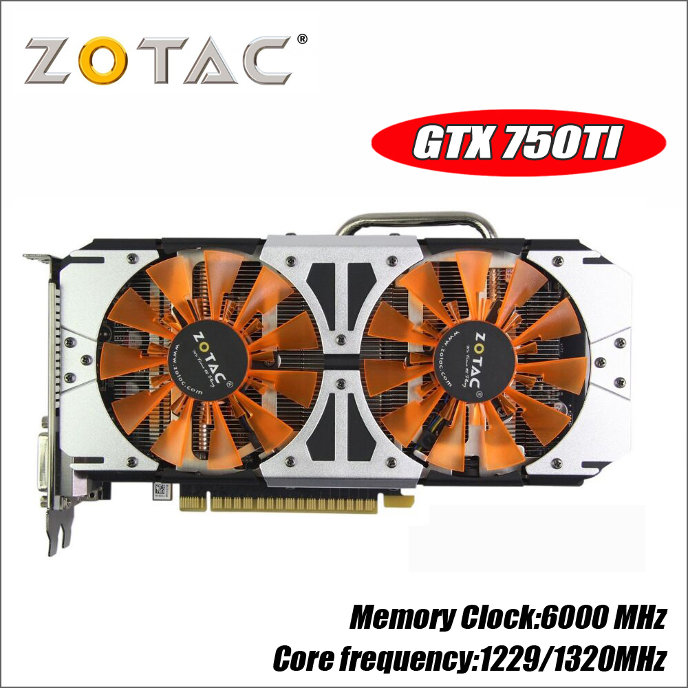 Оригинал ZOTAC видео карты GM170 GPU GTX 750Ti 2 ГБ 128Bit GDDR5 Графика карты карта nVIDIA GeForce GTX750 Ti 2GD5 750 1050