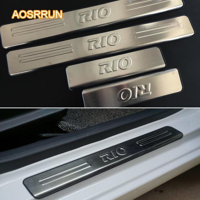 Aosrrun Freeshipping Stainless Steel Door Sill Scuff Plate Car Accessories For Kia Rio Sedan Hatchback Gt