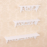 2017 New Home Use One Set Three Pieces White Wood Display Wall Shelf Storage Ledge Home Dector Simple Cleaning And Durability