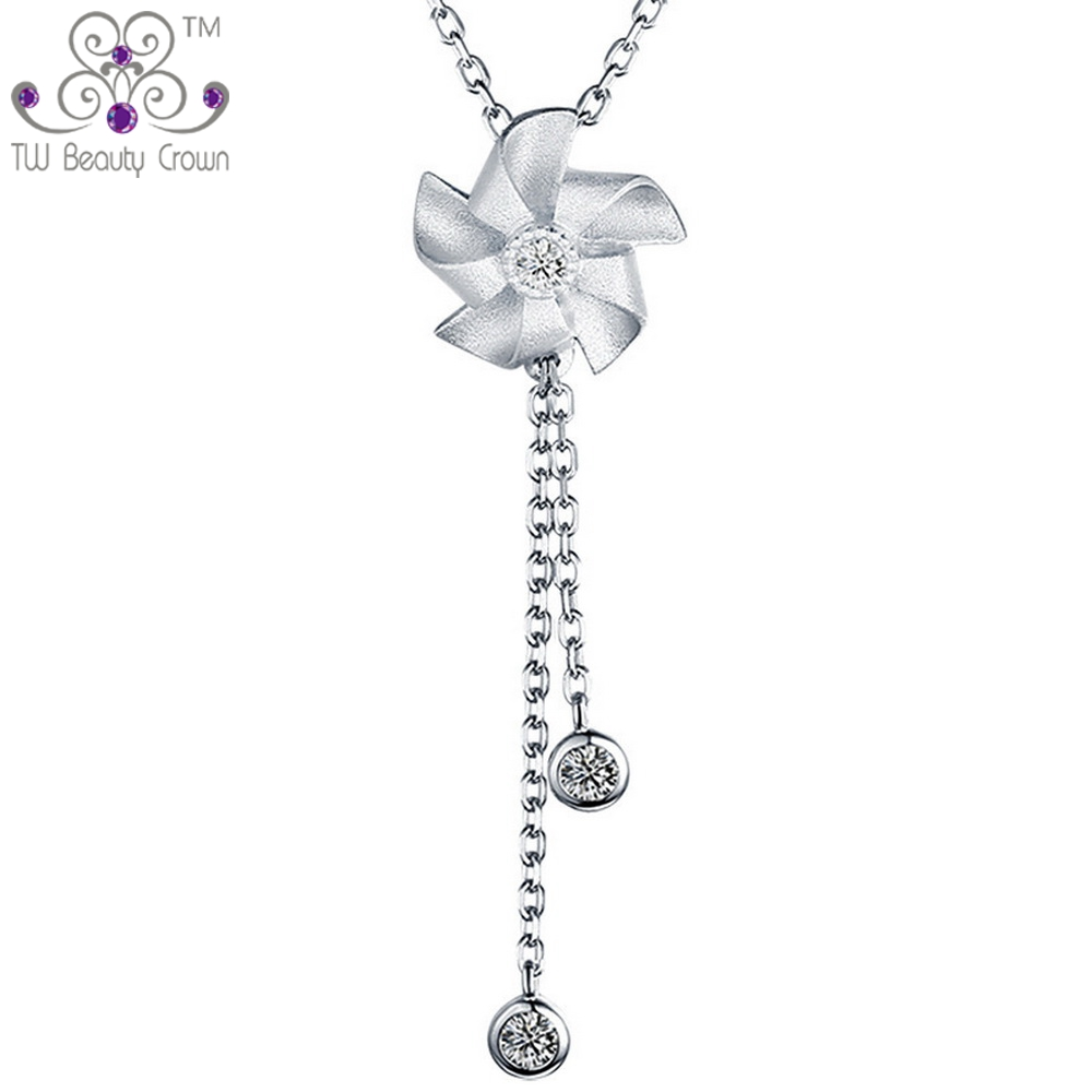 2017 Nouvelle Réel 925 Pur Sterling Argent Simple Romantique Windmill Charm Pendentifs Colliers Pour Femmes Mode Femme