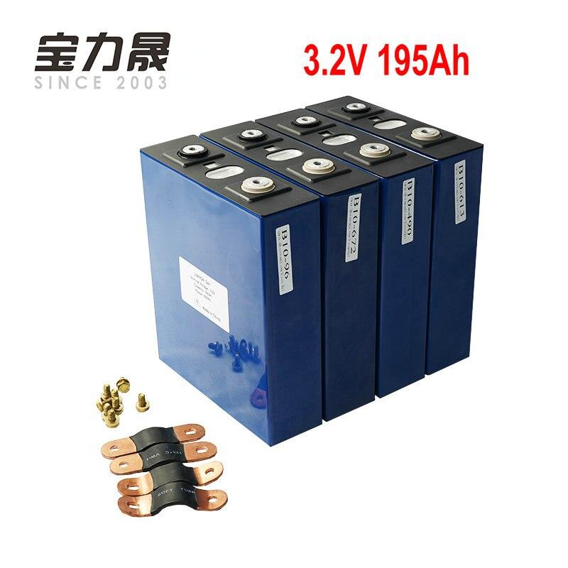 4PCS NOVO 3.2V 190Ah lifepo4 LFP bateria de lítio solar 12v200ah 4S células não 100Ah para pack EV Marinhos RV Golf IMPOSTO DA UE LIVRE