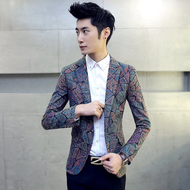9f2208c85aa5 Retro style Men s casual geometric print Blazers Slim fit woolen suit  business party dress high quality