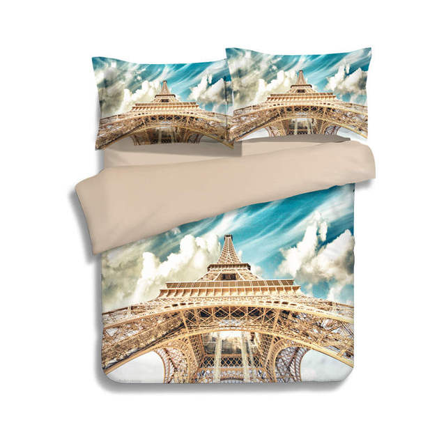 Paris Eiffel Tower Scenery Printed Bedding Sets Single Twin Full Queen King Size Quilt