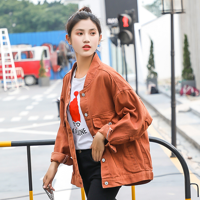 fac09d74c76 ... Pink Black Jeans Jackets Loose For Women s Trend Preppy Style New Autumn  Denim Yellow Jackets Female Stand Coat on Aliexpress.com