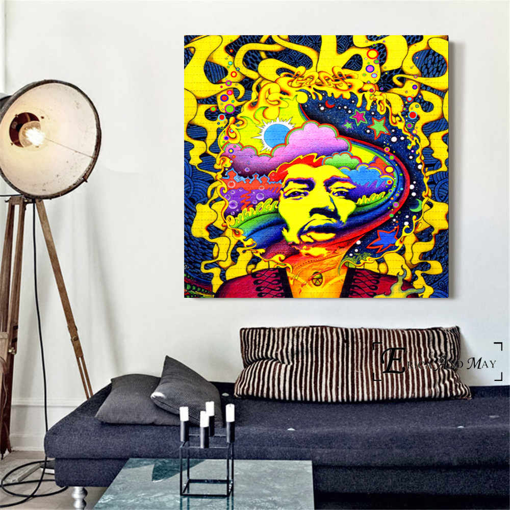 Pop Art Acid Lsd Jimi Singer Posters and Prints Wall art Decorative Picture Canvas Painting For Living Room Home Decor Unframed