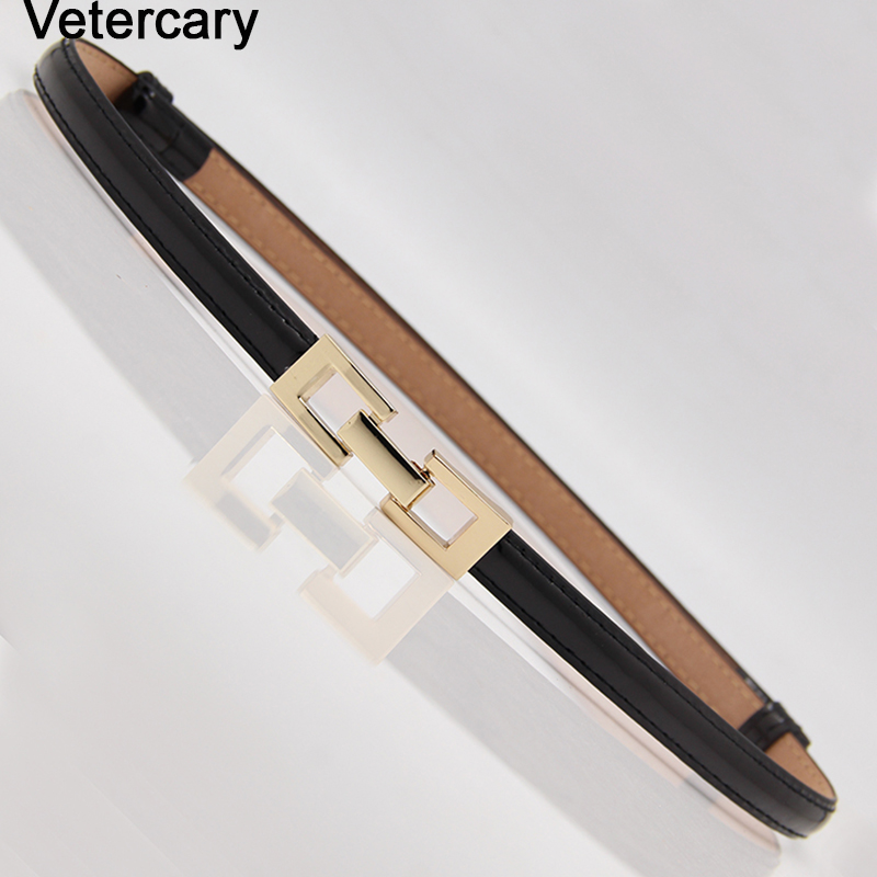 Thin Belt Gold Square Buckle Women Adjustable Waistband For Dress Woman Elegant Strap Adjust Female PU Slim Belts Black Leather