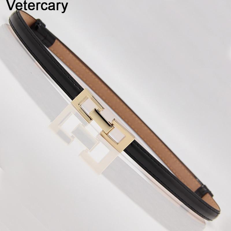 Thin Belt Gold Square Buckle Women Adjustable Waistband For Dress Woman Elegant Strap Adjust Female PU Slim Belts Black Leather