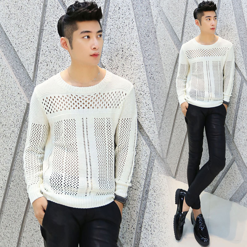 New 2014 Autumn Pullover Transparent Mesh Mens See Through Sweater ...